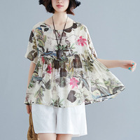 Womens Blouses O Neck Loose Floral Print Short Sleeve Casual Tops Blouse Cotton Linen Blouses Blusas Hot Sales