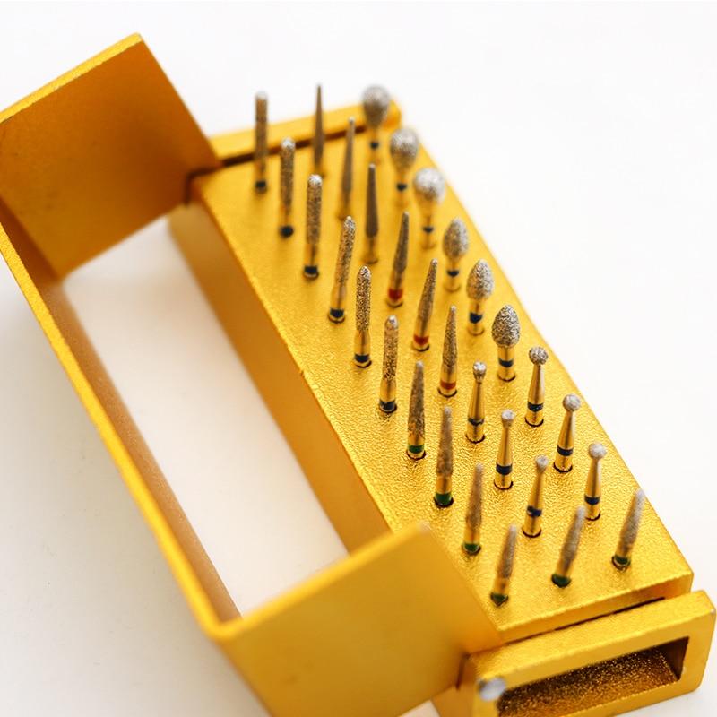 30 pçs/set Desinfecção de Broca + Bloco de Alta Velocidade Handpiece Dental Diamante Burs Titular Alumimum Instrumento Para Clareamento Dos Dentes