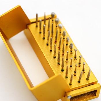 30pcs/set Dental Diamond Burs Drill Disinfection+Block High Speed Handpiece Holder Alumimum Instrument For Teeth Whitening
