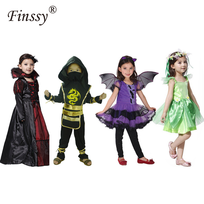 Children's Halloween Performance Costume Elf Princess Dark Queen Vampire Bat Cosplay Stage Drama Performance Costume Ninja Set