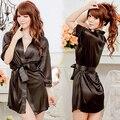 SMT206Women Sexy Robe Vestido Sleepwear Nightwear Aberto Frente Com Cinto de Camisola Nova Chegada