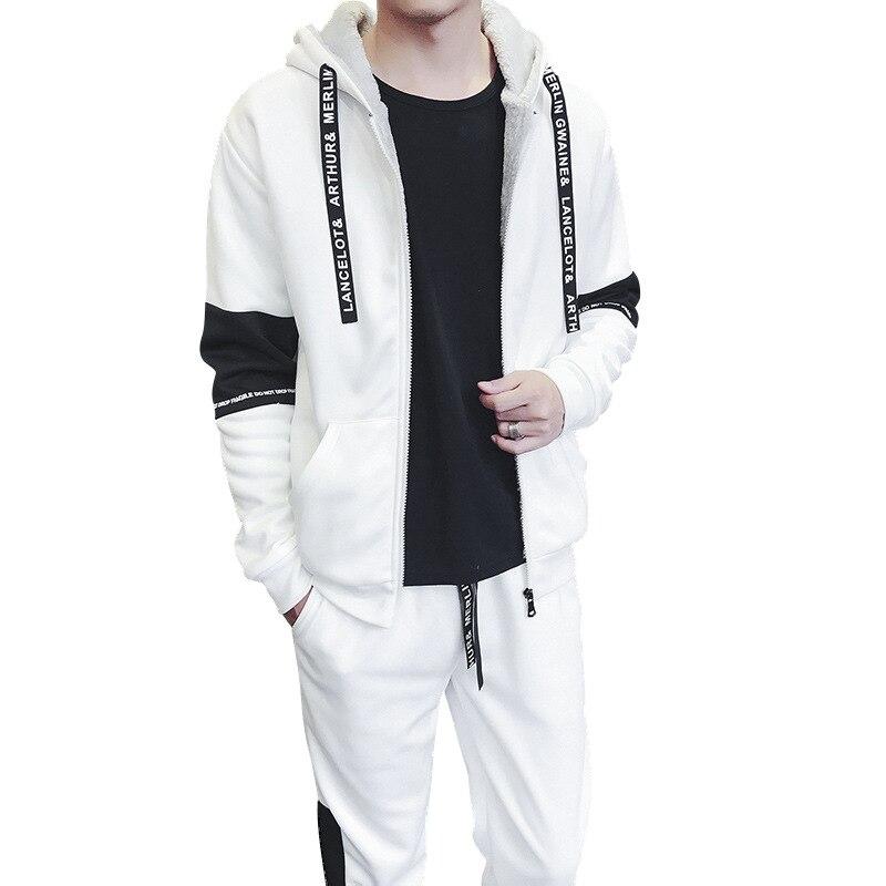 Hommes Sweat costume ensemble 2019 automne hiver pulls à capuche de mode veste + pantalon épais sport costume deux pièces ensemble survêtement pour homme vêtements