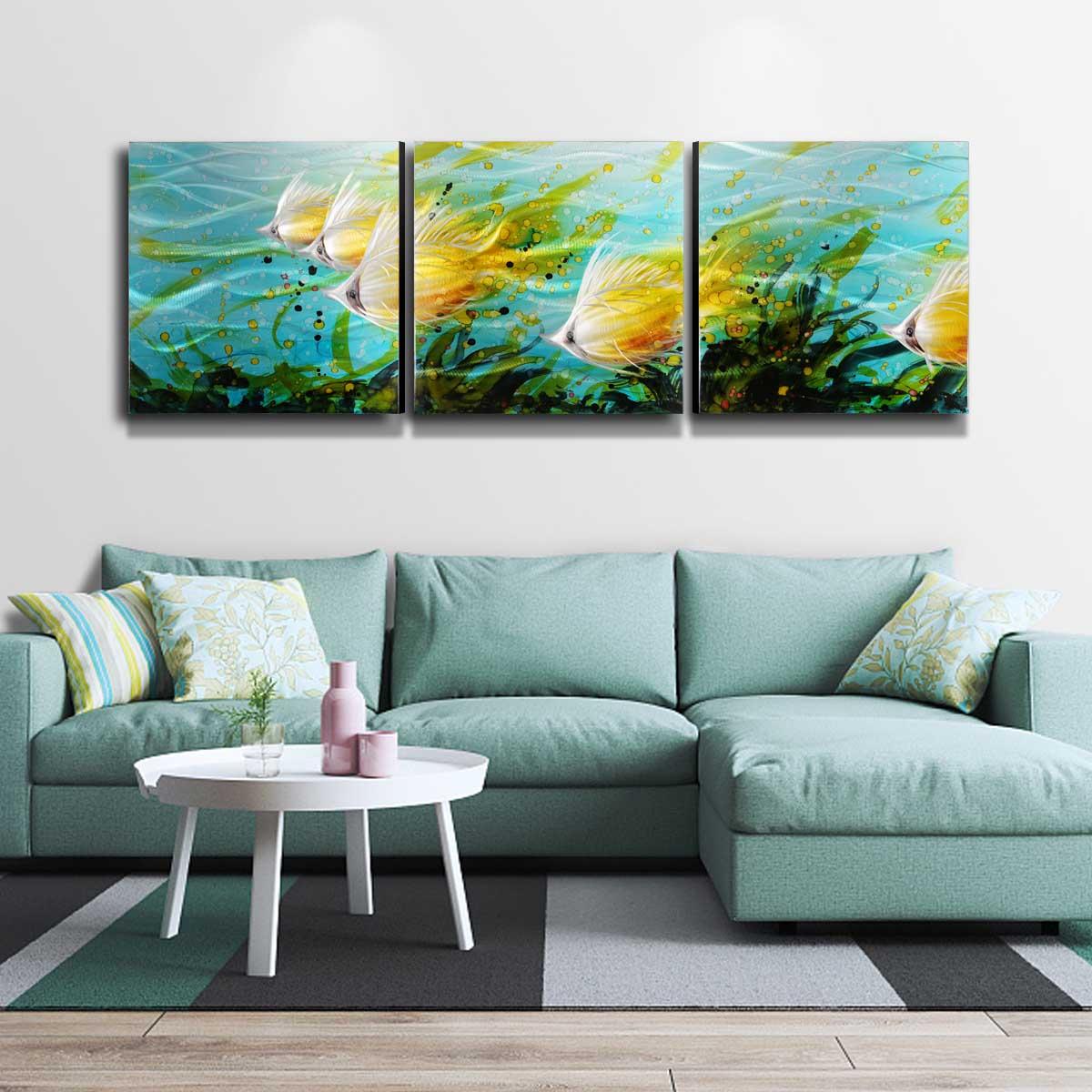 Изысканный 3 панели Алюминий стены Книги по искусству Тропические рыбы стены Книги по искусству современной живописи стены Скульптура укра