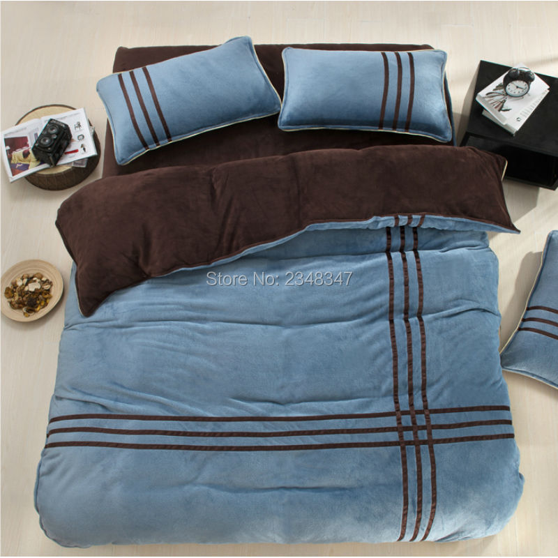 Winter Warm Flannel Fleece Soft Thickened 4Pcs Full/Queen/King Size Bed Quilt/Duvet Cover Set Sheet 2x Shams Sports Blue BrownWinter Warm Flannel Fleece Soft Thickened 4Pcs Full/Queen/King Size Bed Quilt/Duvet Cover Set Sheet 2x Shams Sports Blue Brown