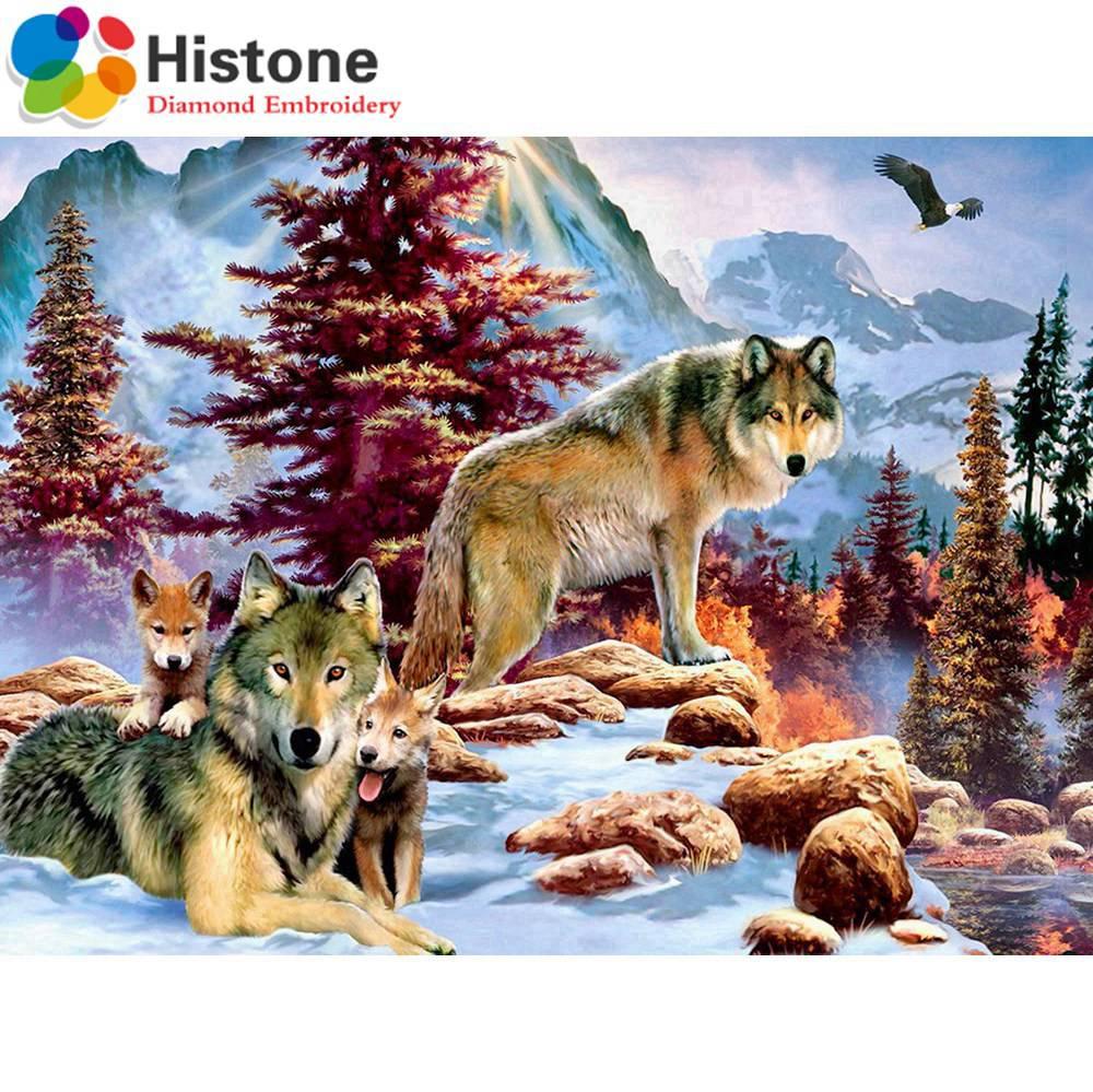 2018 Новый 5D diy Алмаз вышивка Снег Волк Полный Круглый Алмазная мозаика кристалл декоративные картина, вышитая бисером подарок