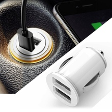 White/Black 12V Power Dual 2 Port USB Mini Bullet Car Charger Adapter for iPhone Portable Double