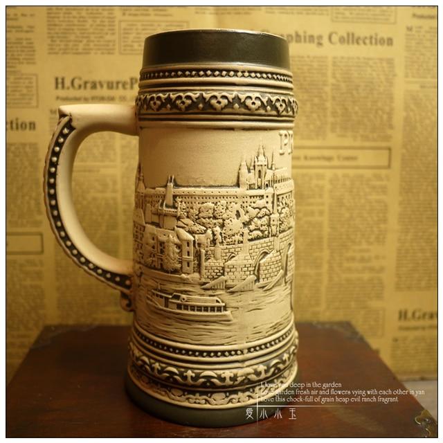 Design Classico Di Ceramica Boccale Di Birra Tedesca Praga Edificio