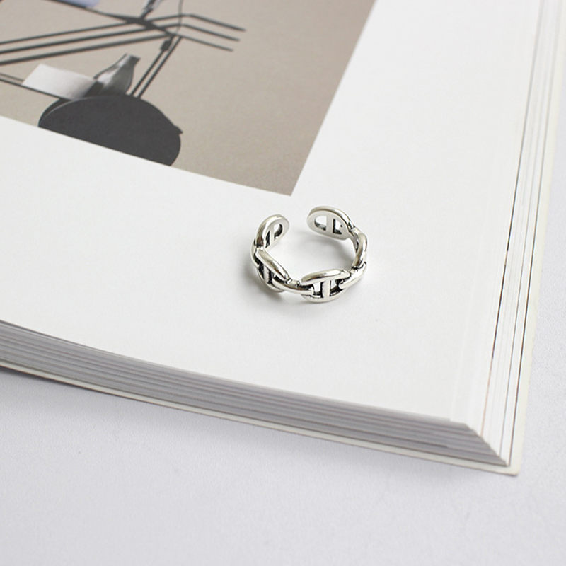 XIAGAO 925 Sterling Silver Ring Opening Simple Design Rings Korea Style Retro Silver Jewelry Bijoux Femme CNR178
