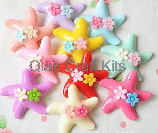 150pcs Multicolor Resin Star Starfish 27mm W Little Flowers Diy