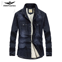 2017 New Jeans Shirt Long Sleeve Solid Casual Slim Fit Washed Denim Man Shirts Social Cotton Cowboy Clothes Plus Size 100z