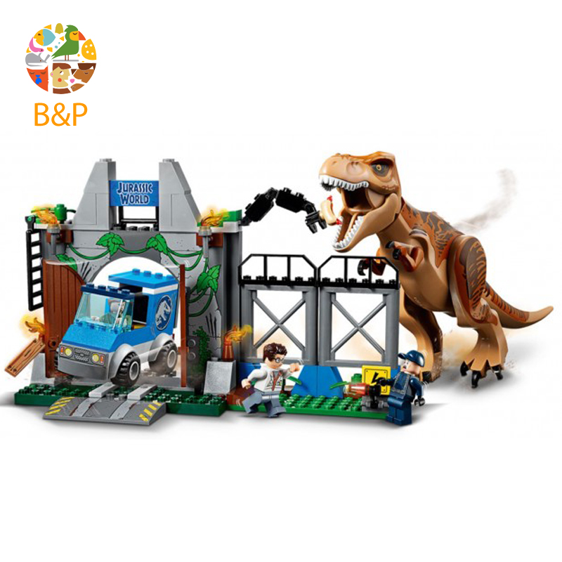 2018 New legoing 10758 168pcs Jurassic World Dinosaurs Tyrannosaurus Rex Breakout Building Block Toys For Children Bela 10920 single dinosaurs tyrannosaurus rex triceratop pterosauria velocirapto movie mini building blocks toys legoings jurassic world