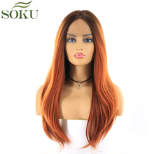 Synthetic Middle Part Lace Front Wigs SOKU Long Straight Dark Root 33 Color Wig Glueless Heat Resistant Fiber Wig For Women