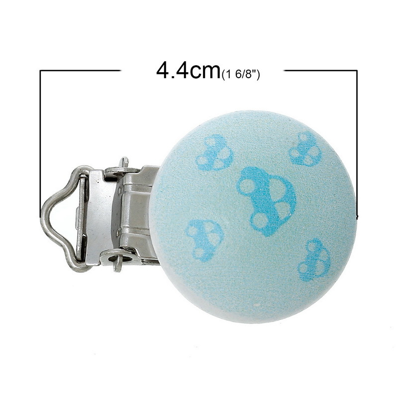 4.4 Cm X 2.9 Cm Newborn Baby Kids Wood Pacifier Clip Round Light Blue Car Wooden Round With Metal Holders Clip kids