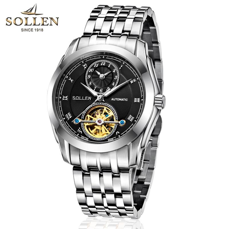 SOLLEN 501 Business Mens Wrist Watch automatic mechanical gift Watches Tourbillon Clock Complete Calendar Multiple Time Zone