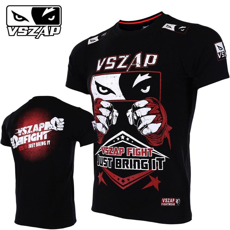 VSZAP Fight Thai Boxing Fight Shogun Short Sleeve T Shirt General MMA Fitness Martial Arts Warrior Training Man KickBoxing