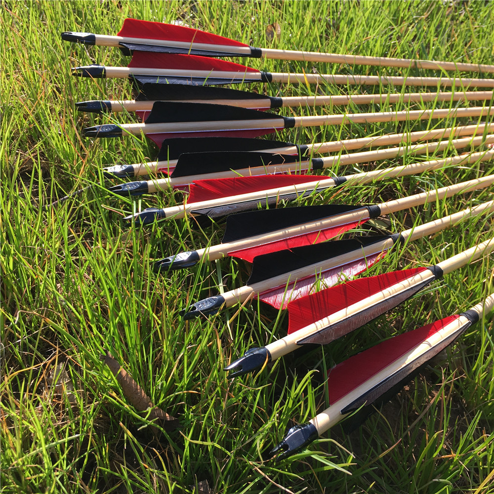 6/12/24PCS Black Red Turkey Feather Traditional Handmade Wooden Arrows 32'' Outdoor Shooting Archery
