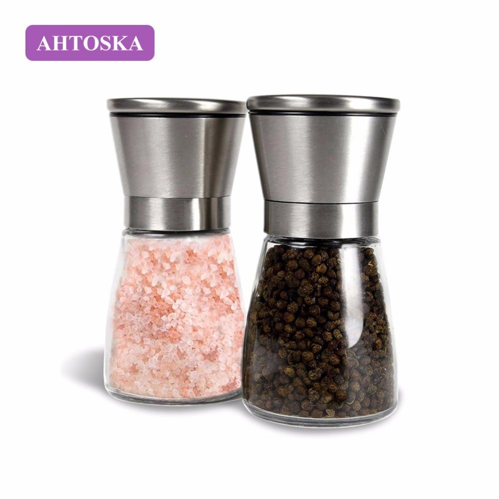 AHTOSKA  Pepper Mill Pepper Grinder 304 Stainless Steel Manual Black Pepper Grinding Pepper Grinding Bottle Flour Mill  salt and pepper pot