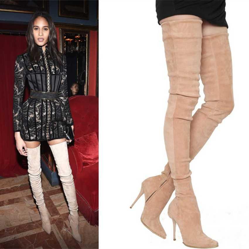 Nieuwe Dij Hoge Vrouwen Laarzen 10.5 cm Hoge Hak Winter Schoenen Vrouw Leer Over De Knie Laarzen Dame Punk Boot zwarte Jurk Schoen