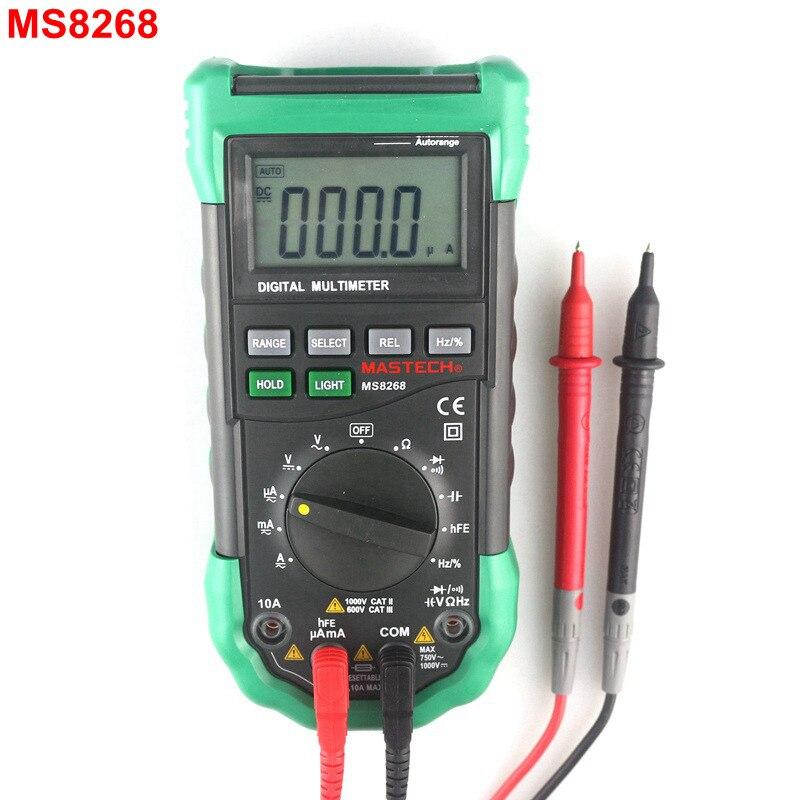 MasTech MS8268 Digital Multimeter Auto Ranging AC DC 750V/1000V Voltmeter 10A Ammeter Ohm Herz Meter Multi Tester with Backlight