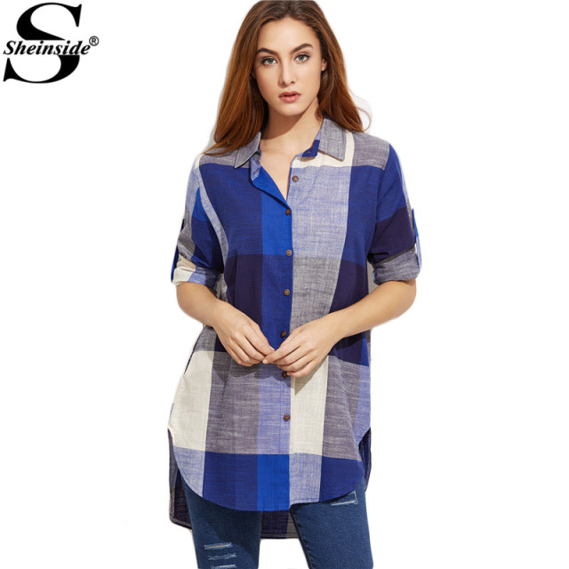 Sheinside Office Wear Korean Fashion Women Tops Long Sleeve Shirt  Roll Tab Sleeve Curved Hem High Low Plaid Shirt Blouse