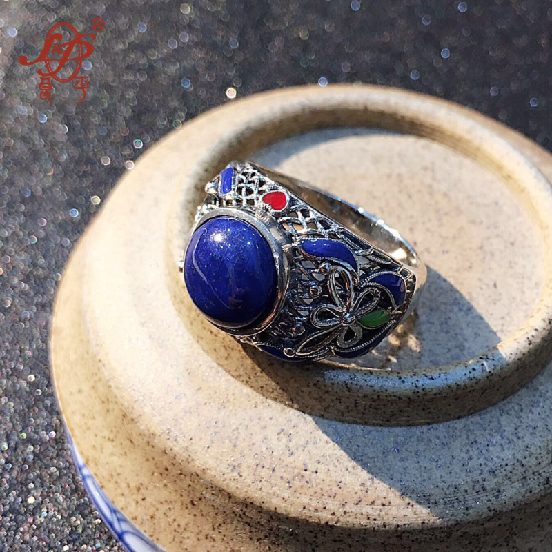 Chiang Mai, Thailand handmade enameled 925 sterling silver jewelry lapis lazuli ring for women female birthday gift christmas gi