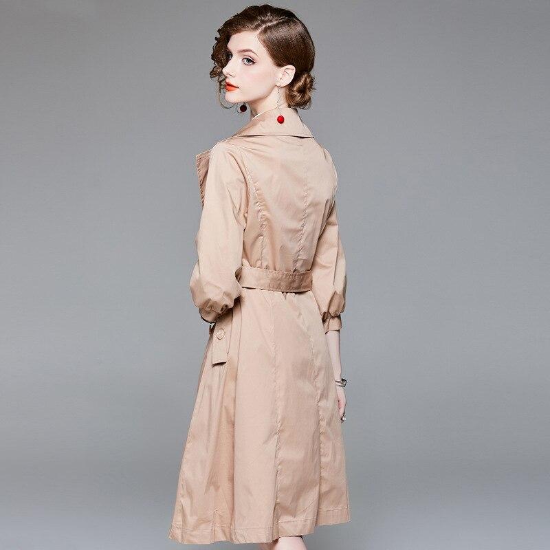Blue 2018 up Manches Slim Poche Breasted Apricot Automne Manteau Double Trench Femmes Lanterne Coat Coat Long Dentelle Pour Pardessus Mode Femme dark 3TlKcFJu15