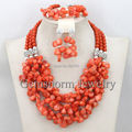 2017 Latest Coral Bridal Necklace Set Chunky Bib Statement Necklace Jewelry Fashion Set 5 Colors Available Free Shipping CNR264