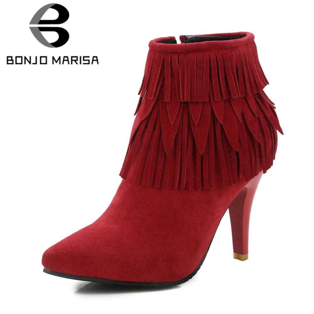 BONJOMARISA 2019 Kış Artı Boyutu 32-46 Sıcak Satış Saçak yarım çizmeler Kadınlar Sıcak Kürk Sivri Burun Çizmeler Yüksek Topuklu ayakkabı Kadın