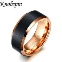 Tungsten anel de homens de qualidade da marca cor de rosa de ouro jóias vintage trendy engravable anéis da faixa Do Casamento para homens EUA tamanho 7-12 bague