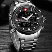 NAVIFORCE Luxury Brand Men's Military Sports Watch Men Fashion Army Quartz Watches Male Stainless Steel LED Analog Digital Clock