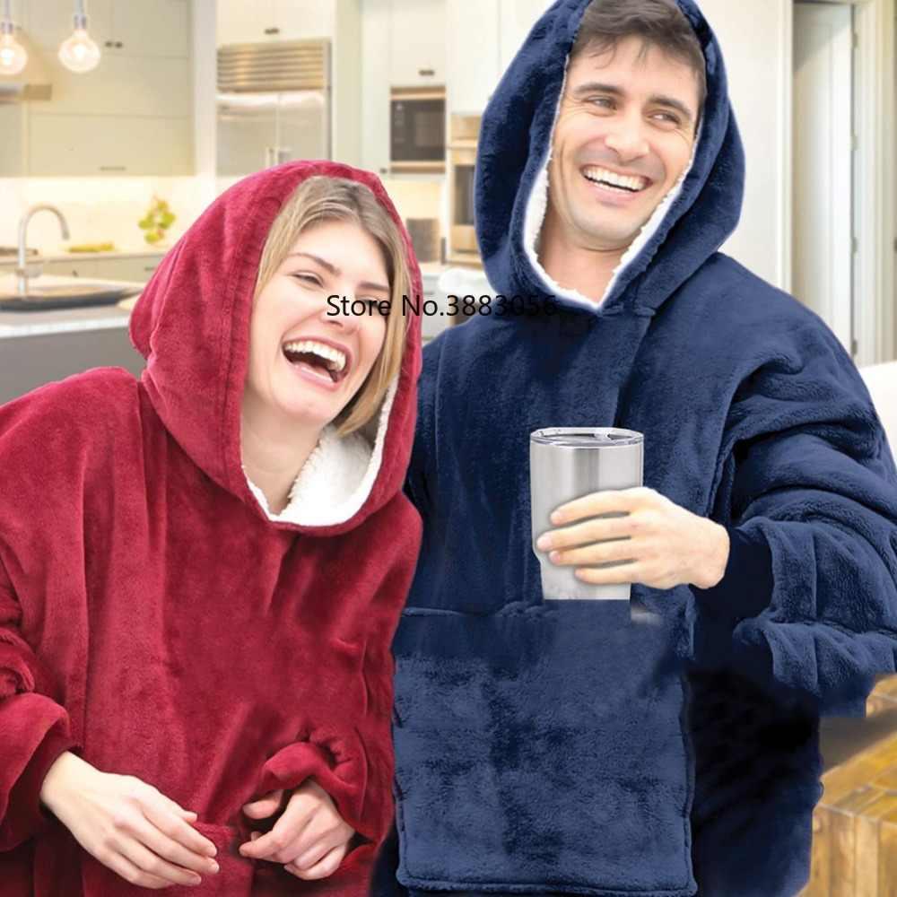 Толстовка с капюшоном для улицы, зимние пальто с капюшоном, теплый Халат с капюшоном, халат, толстовка, флисовый пуловер, одеяло для мужчин и женщин
