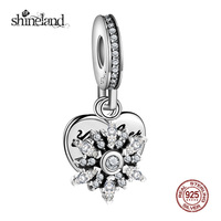 Shineland Trendy 925 Sterling Silver Snowflower Love Heart Charms For Jewelry Making Fit Original Bracelet Necklace