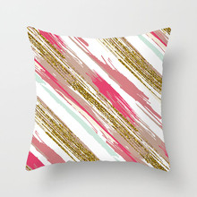 Fuwatacchi Home Decor Gradient Striped Cushion Cover Cross Geometric Pillow Cover for Car Chair Sofa Painted Pillow Case цена и фото