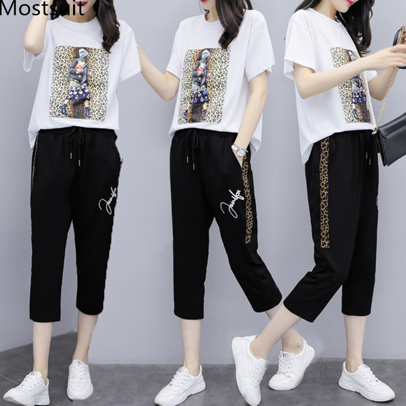 L 5xl Black White Summer Leopard Print Beading Two Piece Sets Outfits Women Plus Size Printed T shirts And Pants Suits Tracksuit