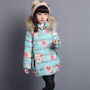 Image 2 - Winter Thicken Warm Kids Coat Children Outerwear Cotton Filler Heavyweight Girls Jackets Floral Printing Outfits 3 12 Years Old