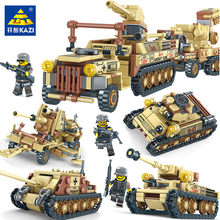 4IN1 678PCS Military Tank LegoINGLY Building Blocks Sets Miniature Gun Weapon Creator Army Soldiers Bricks Toys(China)