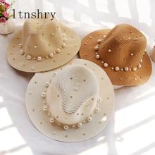 Summer Straw sun hat pearl Visor Trilby Jazz women chapeau femme Male Fedora elope Beach Sun Panama Hat