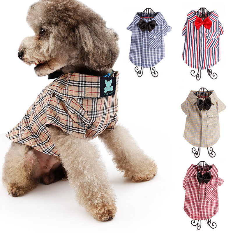 4273124219fd Spring Summer Goods Brand England Gentleman Pets Clothes dog Shirt Spring  And Autumn Dress Distinguished Guest Poodle