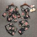 4 Pieces Ladies Sexy Silk Satin Sleepwear <font><b>Set</b></font> Floral <font><b>Pajama</b></font> <font><b>Set</b></font> Fashion Nightwear <font><b>Set</b></font> Robe+Slip top+Pant+Shorts Solf Homewear