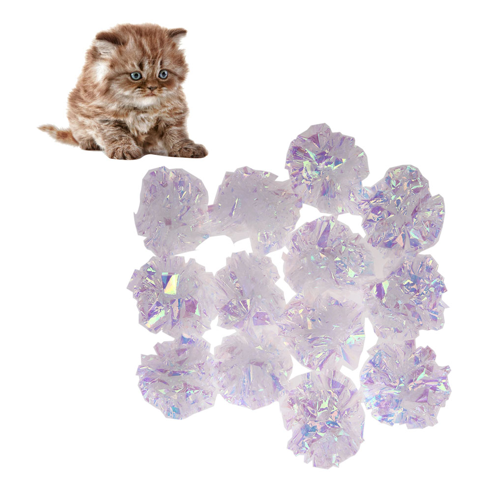 12pcs Crinkle Balls Cat Toys Cat Toy Sound Ball Kitten Playing Toys Ball Assorted Interactive Sound Ring Paper Pet Products