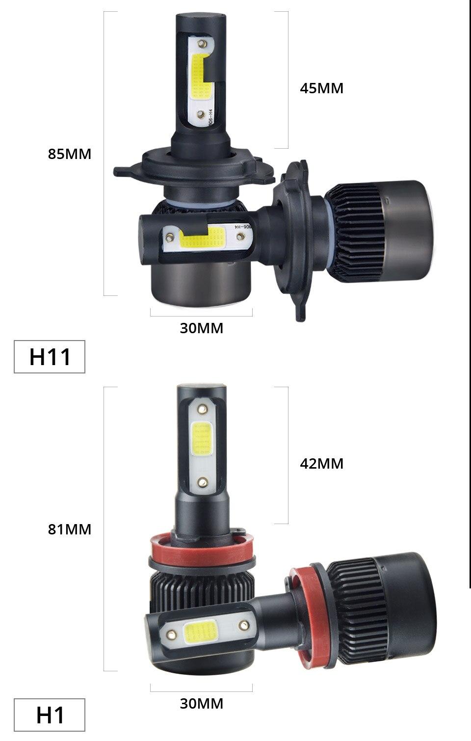 1 pcs LED H7 LED Car Headlight Bulb 8000LM LED H4 H7 H11 9005 9006 9012 4300k 6500k COB Hight Low beam MINI 12V 24V 72W 50000h (10)