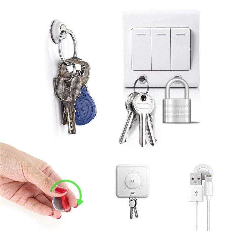 6 teile/paket Magnetische Schlüssel Halter Keychain Ring Schlüssel Racks Eingebaute Starke Magnet Einfach Installiert Ohne Bohren Lebensmittel Veranstalter
