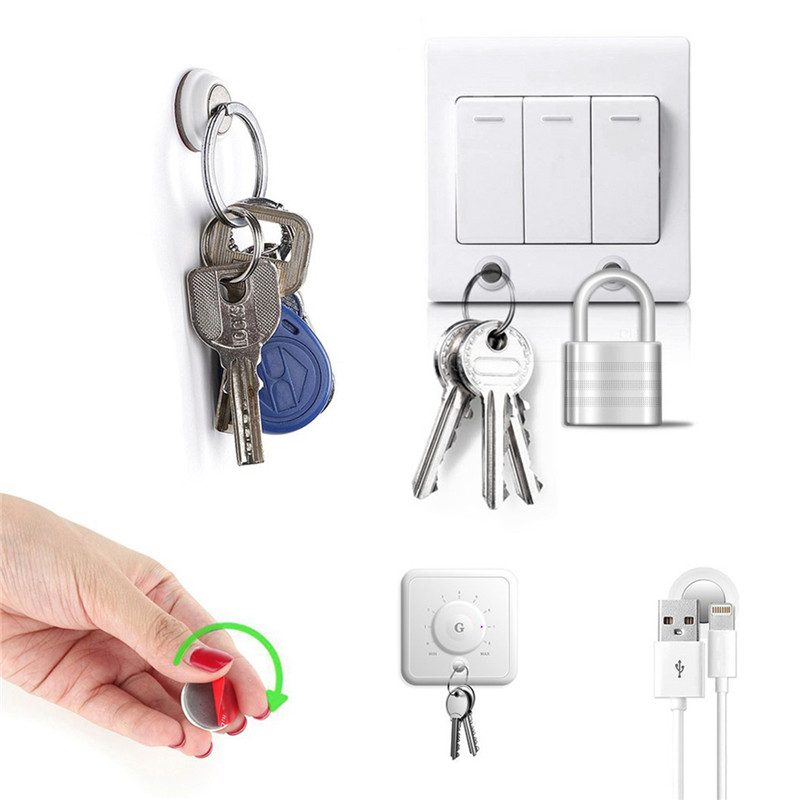 6pcs/pack Magnetic Key Holder Keychain Ring Key Racks Built-in Strong Magnet Easy Installed Without Drilling Groceries Organizer