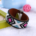 Fashion Jewelry Woman Leather Magnetic Bracelet & Bangles Bohemian beads Accessories ethnic style Wide Multilayer Bangles Gift