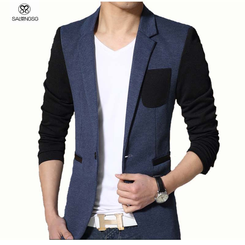 Casual Men Blazer Slim Fit Gray With Black Sleeve Brand Designs Blazer Men Korean Style Fashion ...