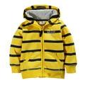 Crianças meninos moletom com zíper uniforme roupa do bebê pano esporte ny crianças jaqueta hoodies meninas inverno listrado bonito amarelo para as crianças