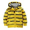kids boys sweatshirt zipper uniform outfit baby sport cloth ny kids jacket girls hoodies cute yellow striped winter for kids
