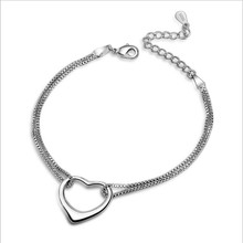LUKENI Trendy 925 Sterling Silver Women Bracelets Jewelry Top Quality Box Chain Heart Anklets Accessories Hot Christmas
