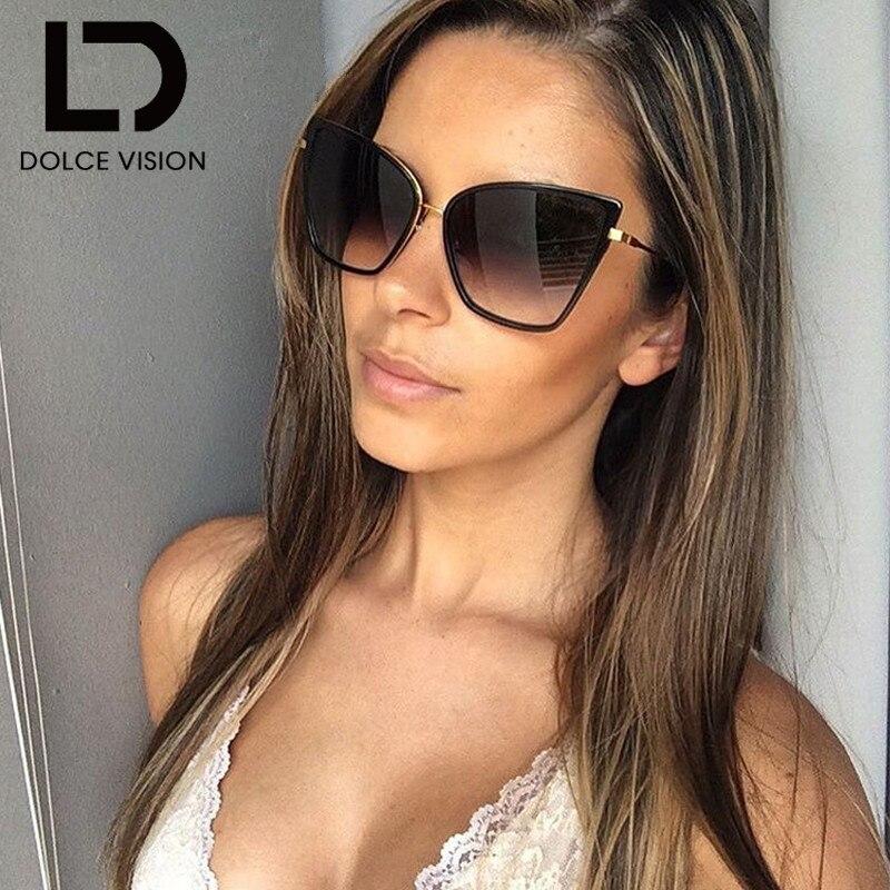 DOLCE VISION Saulesbrilles sievietēm Saulesbrilles Kaķu acu sieviešu apvalks Modes toņi Sunglass Augstas kvalitātes lielizmēra UV400 toņi