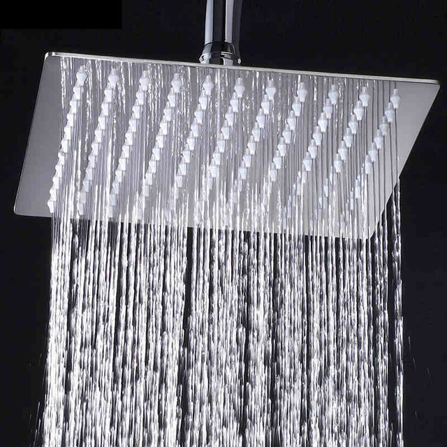 Free Shipping Chrome Wall Mounted Ultrathin Square 8″ Shower Head + Brass Shower Arm + 150cm Srainless Steel Shower Hose
